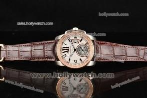 Cartier Calibre De Watch W7100039D Diamond Bezel Steel Case